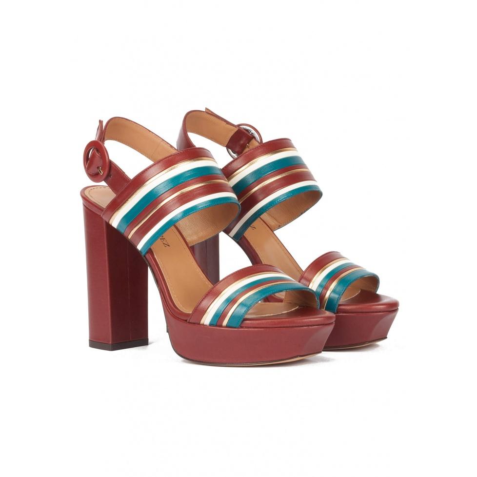 Multi-strap platform high block heel sandals in burgundy