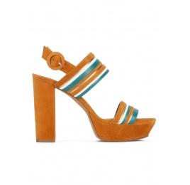 Platform high block heel sandals in camel suede Pura López