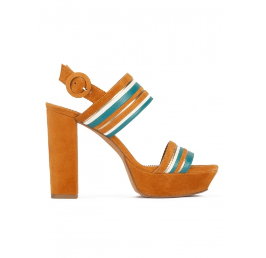Platform high block heel sandals in camel suede Pura L�pez