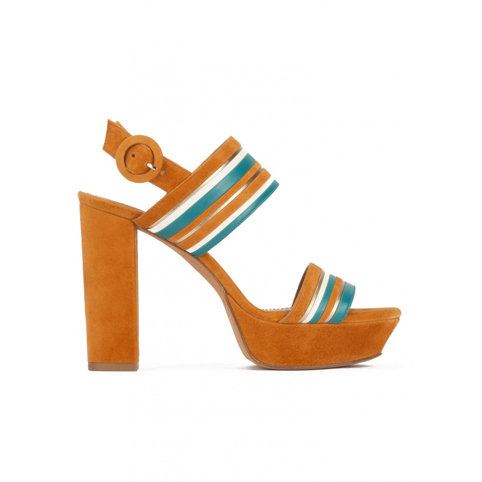 Platform high block heel sandals in camel suede