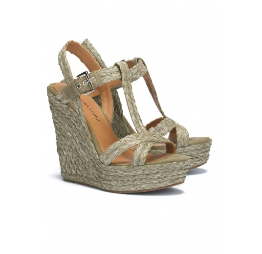 Kaki high wedge sandals Pura L�pez
