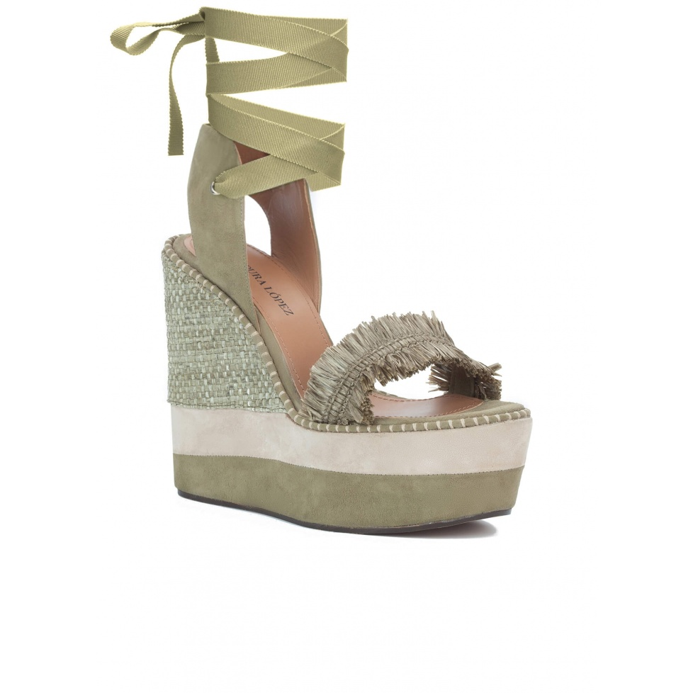Lace-up wedge sandals in khaki suede - online shoe store Pura Lopez