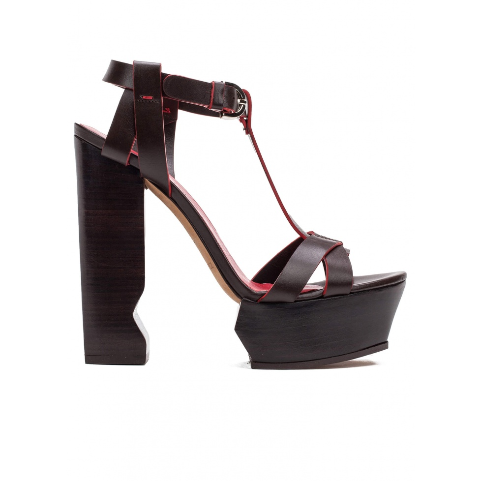High platform block heel sandals in brown leather