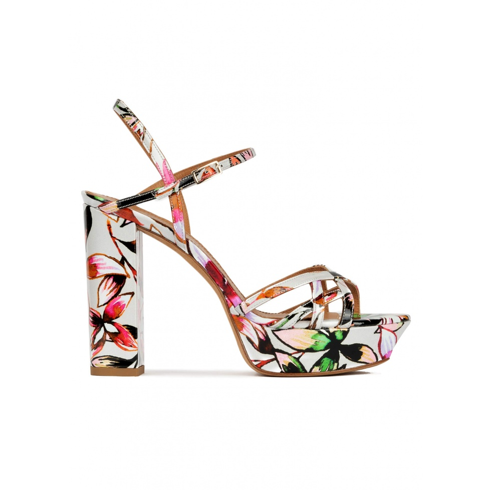 Floral print platform high block heel sandals