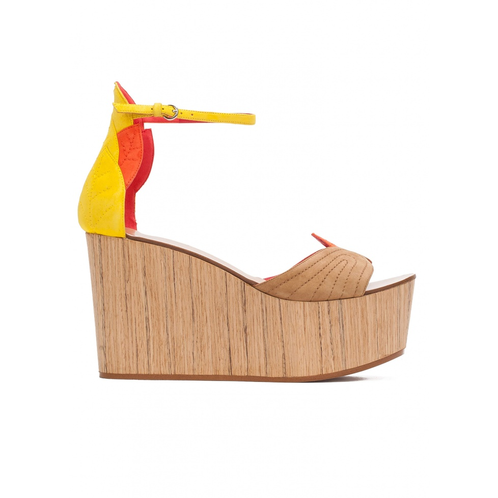 Wood wedge sandals in multicolored suede