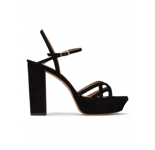 Black platform high block heel sandals in suede Pura López