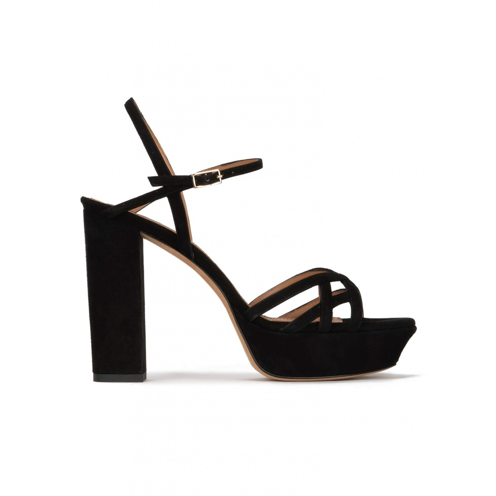 Black platform high block heel sandals in suede