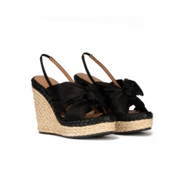 Black satin high wedge sandals Pura López
