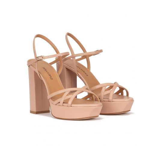 Platform high block heel sandals in nude leather Pura López