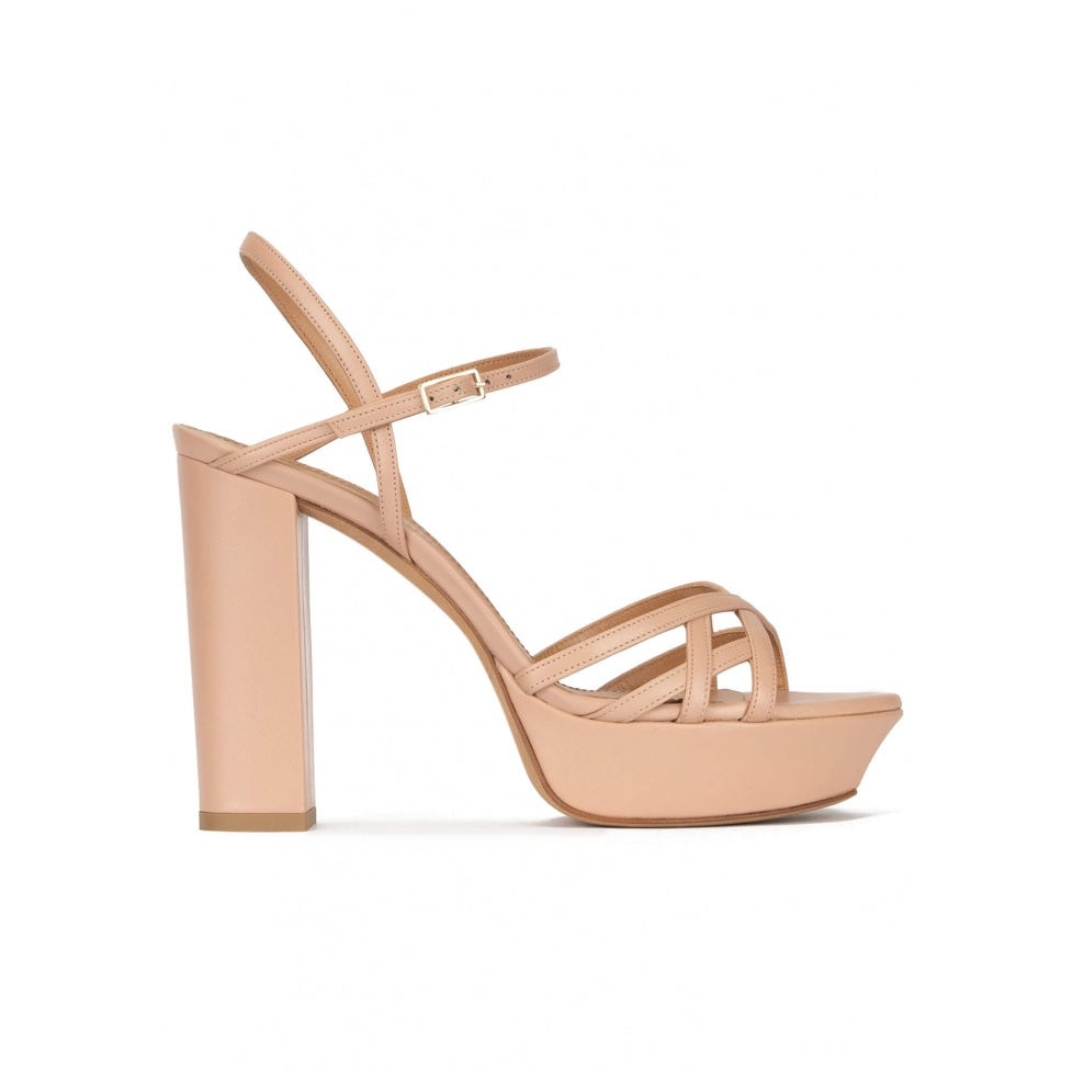 Platform high block heel sandals in nude leather