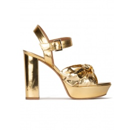 Chunky heel platform sandals in gold mirrored leather Pura López