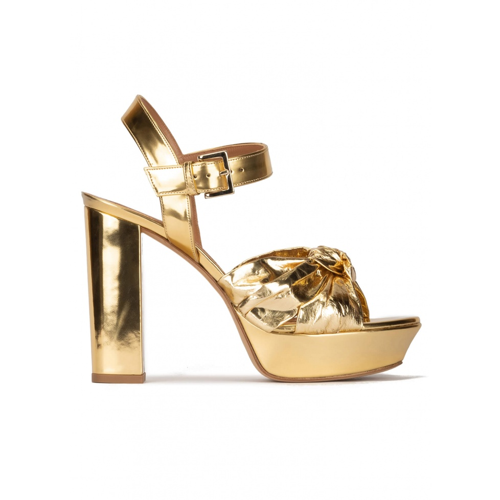 Chunky heel platform sandals in gold mirrored leather