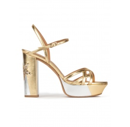 Metallic platform high block heel sandals Pura López