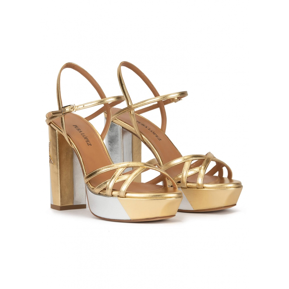 Metallic platform high block heel sandals