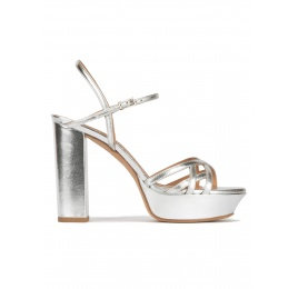 Platform high block heel sandals in silver leather Pura López