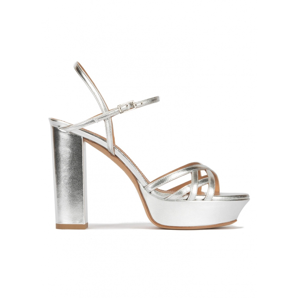 Platform high block heel sandals in silver leather