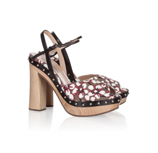 Wood platform sandals in printed fabric Pura L�pez