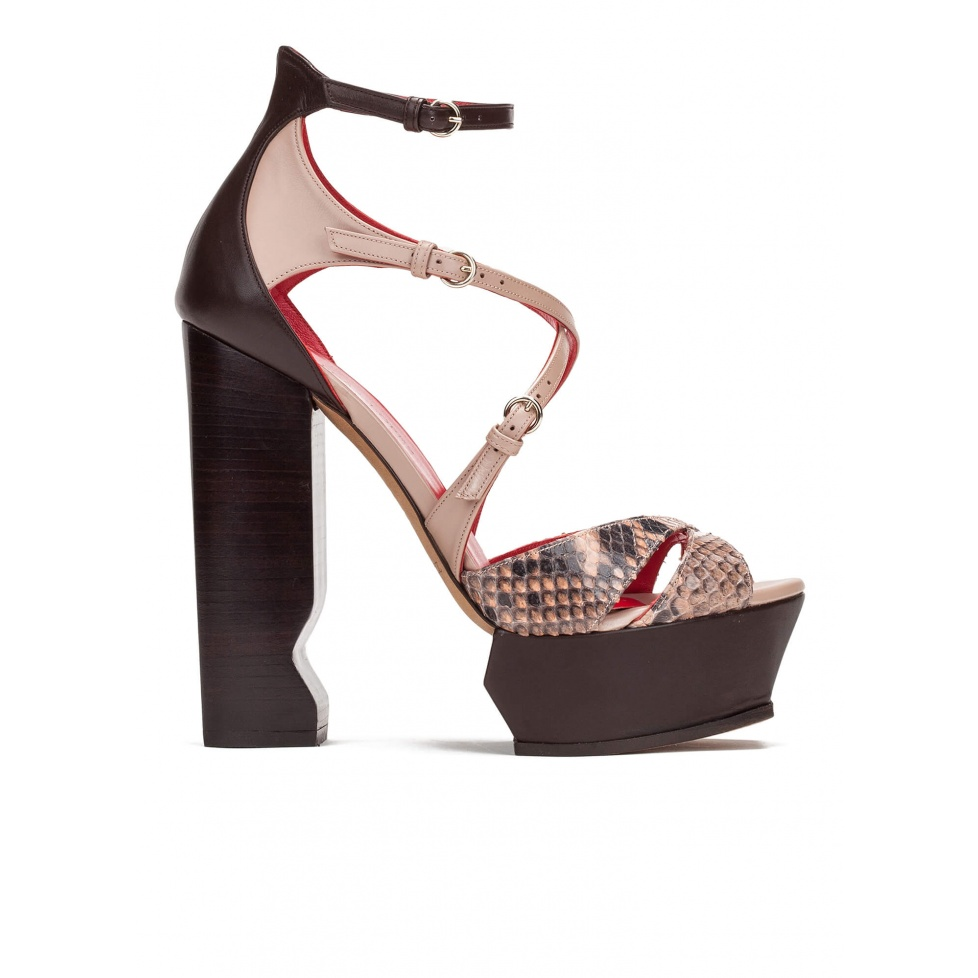 High block heel sandals in nude and brown leather and snake leather