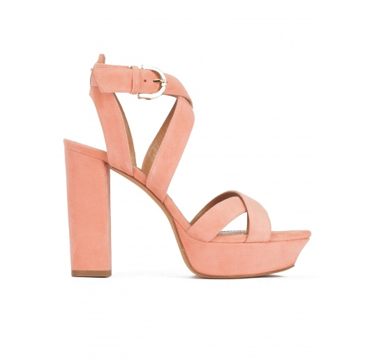 Strappy high platform sandals in old rose suede Pura L�pez