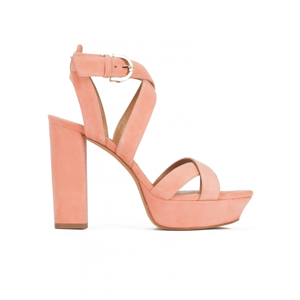 Strappy high platform sandals in old rose suede