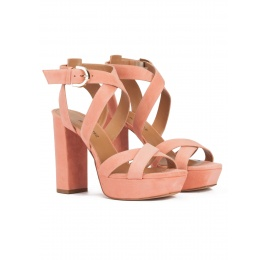 Strappy high platform sandals in old rose suede Pura López