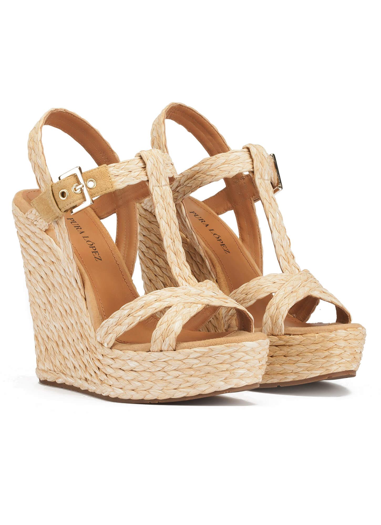 Rafia Sandalias Tienda De Zapatos En Cuña Pura López Natural nvmywON08