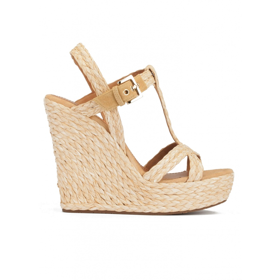 T-bar high wedge sandals in natural raffia and suede