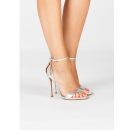 Ankle strap high heel sandals in silver metallic leather Pura López