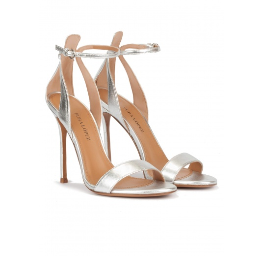 Ankle strap high heel sandals in silver metallic leather Pura L�pez