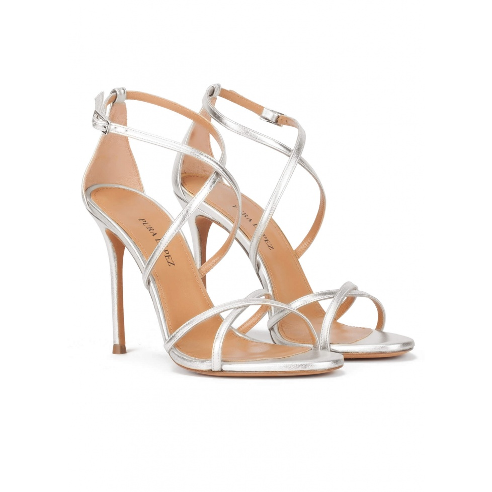 Strappy high-heeled sandals in silver leather