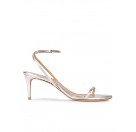 Strappy mid-heeled sandals in metallic silver Pura López
