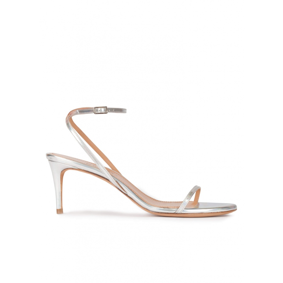 Strappy mid-heeled sandals in metallic silver