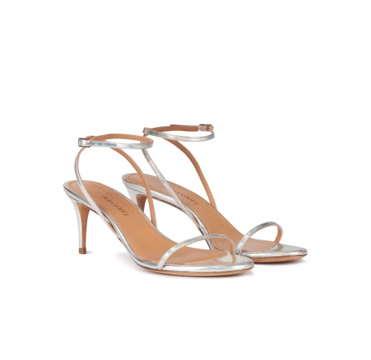 Strappy mid-heeled sandals in metallic silver Pura L�pez