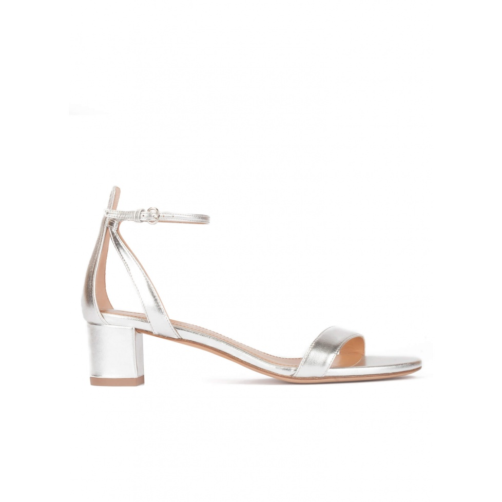 Silver ankle strap mid block heel sandals in metallic leather