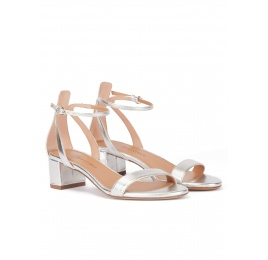Silver ankle strap mid block heel sandals in metallic leather Pura López