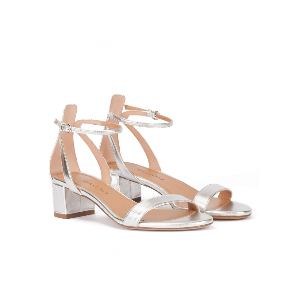Silver ankle strap mid block heel sandals in leather