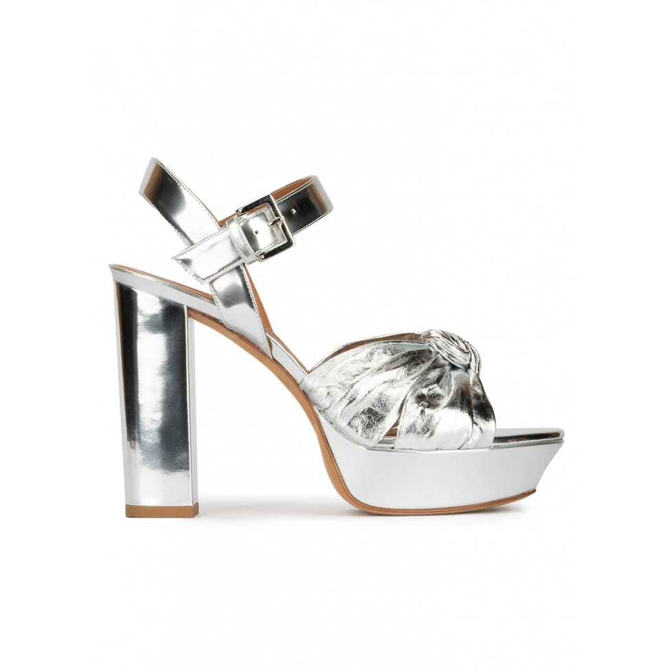 Block heel platform sandals in silver mirrored leather