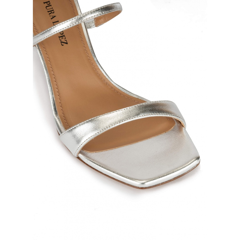 Silver leather ankle strap mid-heeled sandals