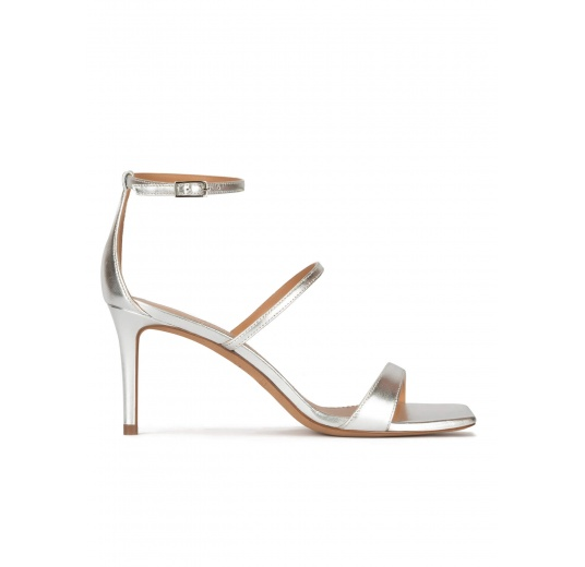 Silver leather ankle strap mid-heeled sandals Pura López