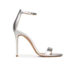 Silver leather high heel sandals Pura López