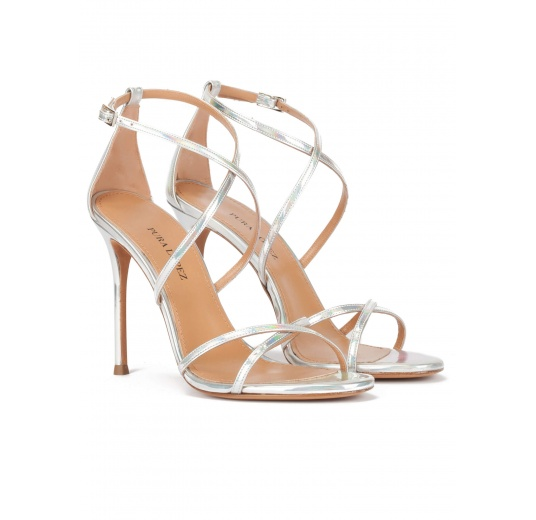 Strappy high-heeled sandals in silver leather Pura L�pez