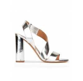 Strappy high block heel sandals in silver mirrored leather Pura López