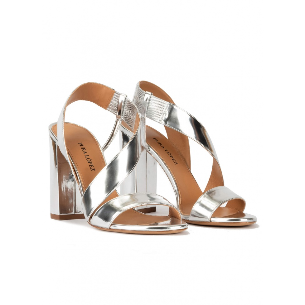 Strappy high block heel sandals in silver mirrored leather