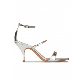 Silver strappy mid heel sandals Pura López