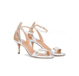 Ankle strap mid heel sandals in silver leather Pura López