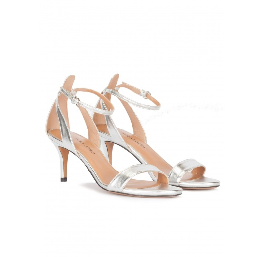 Ankle strap mid heel sandals in silver leather Pura L�pez