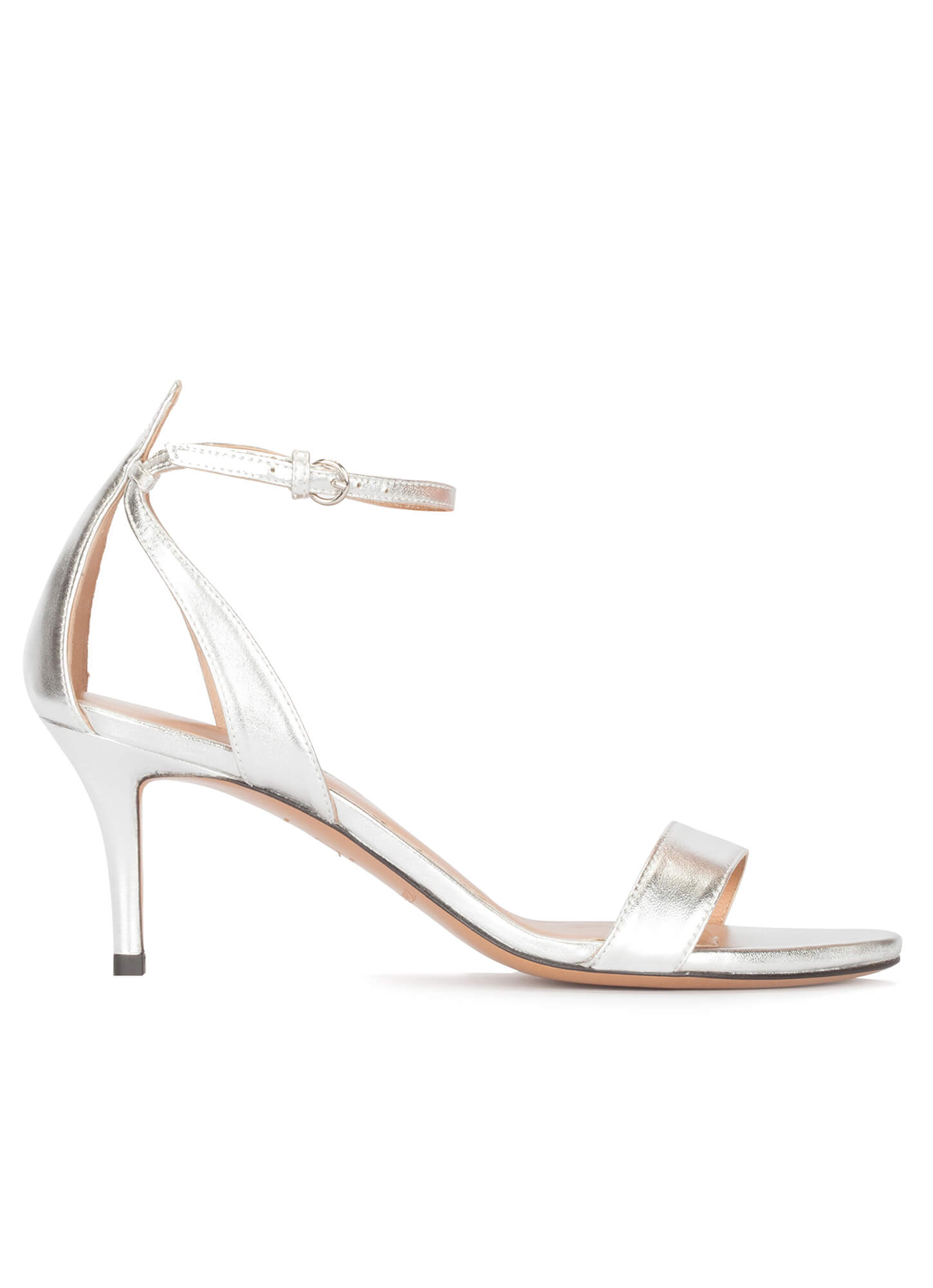 f5a96f35d Ankle strap mid heel sandals in silver leather . PURA LOPEZ