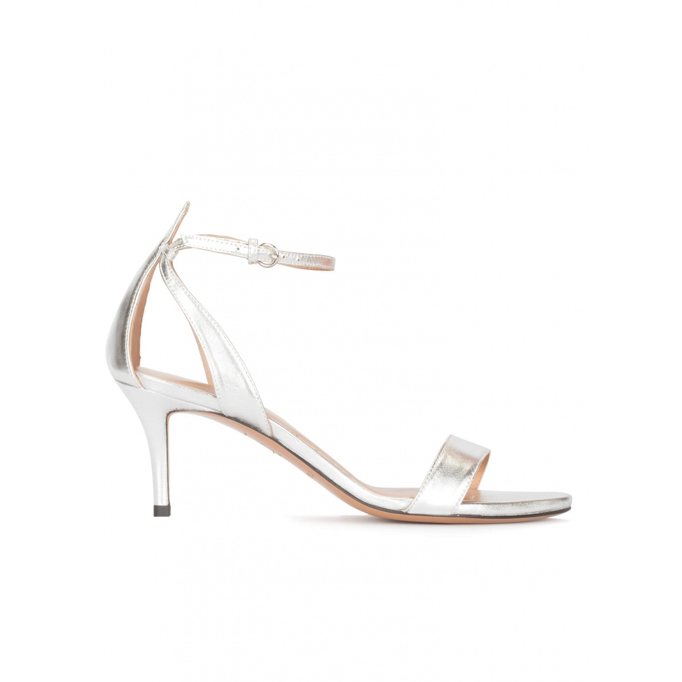 Ankle strap mid heel sandals in silver leather