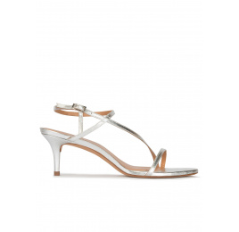 Strappy mid-heeled sandals in silver metallic leather Pura López