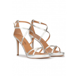 Strappy platform high heel sandals in silver Pura López